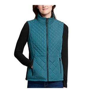 Andrew Marc Women's Quilted Insulated Vest- Green-